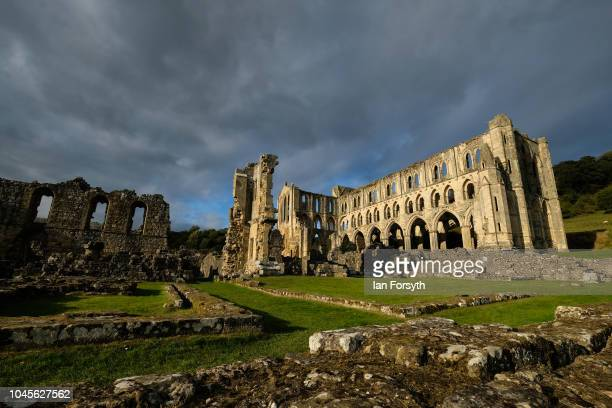 """General view of the ruins of Rievaulx Abbey ahead of a press preview evening for an interactive light installation titled """"Halo"""" on September 27,..."""