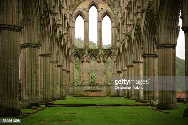 A general view of the ruins of Rievaulx Abbey in North Yorkshire on May 26 2016 in Thirsk England Rievaulx Abbey was the first monastery of the...