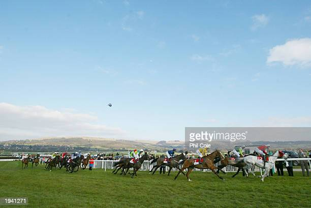 A general view of the runners as they come round for the second circuit during The Tote Gold Cup Chase on March 13 2003 at Cheltenham Racecourse in...