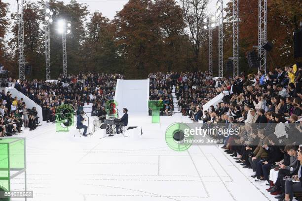 A general view of the runway ahead of the Lacoste show as part of the Paris Fashion Week Womenswear Spring/Summer 2018 on September 27 2017 in Paris...