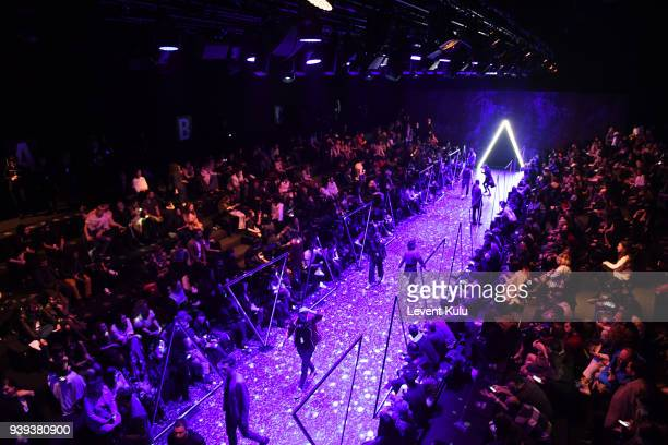 A general view of the runway ahead the Brand Who during Mercedes Benz Fashion Week Istanbul at Zorlu Performance Hall on March 28 2018 in Istanbul...