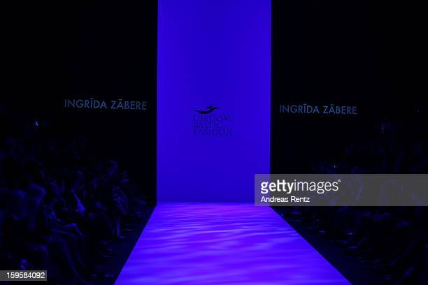 A general view of the runway at the Agne Kuzmickaite Igrida Zabere Kaetlin Kaljuvee Autumn/Winter 2013/14 fashion show during MercedesBenz Fashion...