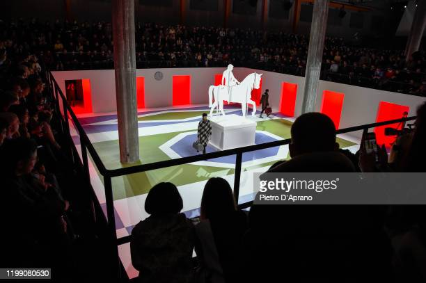 General view of the runway at the Prada fashion show on January 12, 2020 in Milan, Italy.