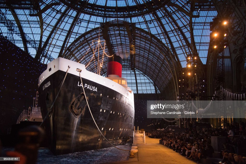 General view of the runway during the Chanel Cruise 2018/2019 Collection at Le Grand Palais on May 3, 2018 in Paris, France.