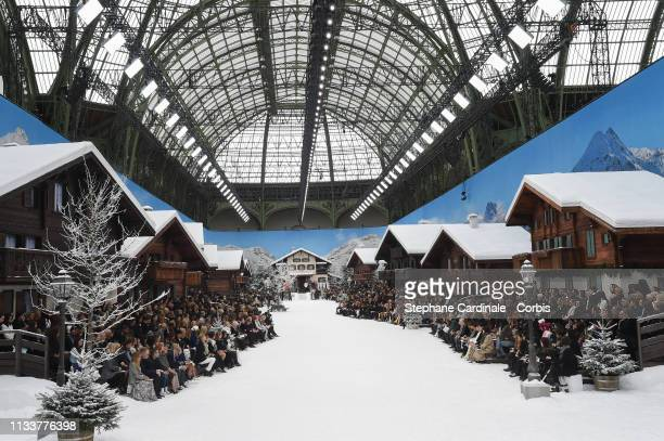 General view of the runway during the Chanel show as part of the Paris Fashion Week Womenswear Fall/Winter 2019/2020 on March 05, 2019 in Paris,...