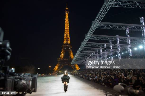 General view of the runway in front of the Eiffel Tower during the Yves Saint Laurent Spring Summer 2018 show as part of Paris Fashion Week at on...
