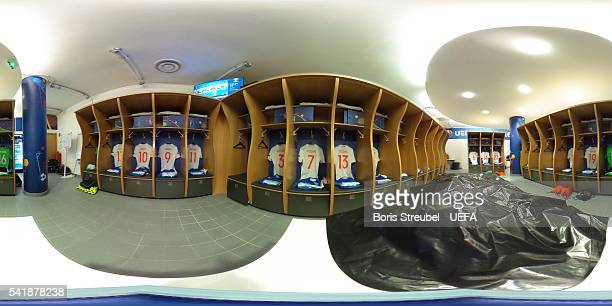 A general view of the Russia dressing room prior to the UEFA EURO 2016 Group B match between Russia and Wales at Stadium Municipal on June 20 2016 in...