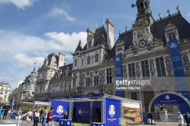 JeanLou Charon President of the French golf Federation attends the opening of the Ryder Cup fan zone at Hotel de Ville on September 20 2018 in Paris...