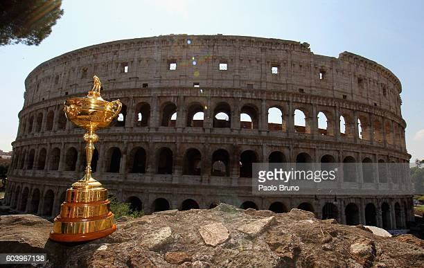 A general view of the Ryder Cup Trophy in front of the Coliseum during the Ryder Cup Trophy Tour event on September 13 2016 in Rome ItalyThe Ryder...