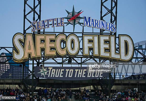 A general view of the Safeco Field scoreboard sign during a game between the Seattle Mariners and the Minnesota Twins on April 25 2015 in Seattle...