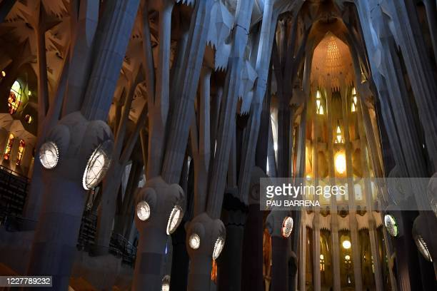 General view of the Sagrada Familia taken in Barcelona on July 26, 2020 during a mass for victims of the COVID-19 coronavirus. - The Spanish...