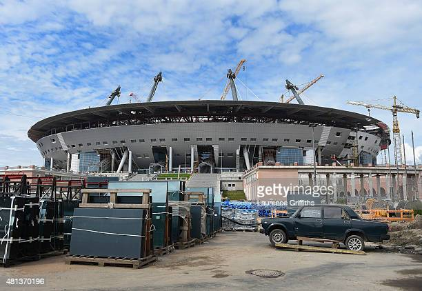 A general view of the Saint Petersburg Stadium construction site during a media tour of Russia 2018 FIFA World Cup venues on July 20 2015 in Saint...