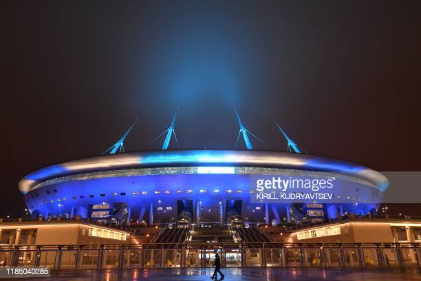 TOPSHOT A general view of the Saint Petersburg Stadium on November 27 2019 Russia's Saint Petersburg is one of 12 locations across Europe scheduled...