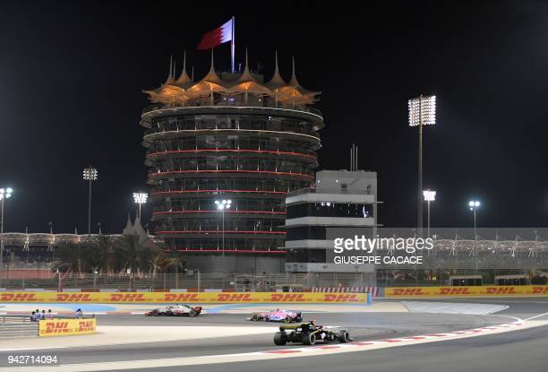 TOPSHOT A general view of the Sakhir circuit in Manama during the second practice session ahead of the qualifiers for the Bahrain Formula One Grand...