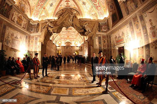 A general view of the Sala Ducale in the Apostolic Palace as Cardinals attend their courtesy visits on February 14 2015 in Vatican City Vatican In...