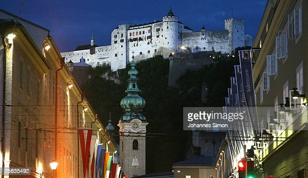 General view of the Salzburg festival halls the Salzburg castle and the St Peter's church seen during the opening concert of Salzburg summer festival...