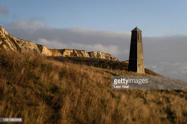 A general view of the Samphire Hoe Tower which was designed by Jony Easterby and Pippa Taylor on January 09 2019 near Dover England