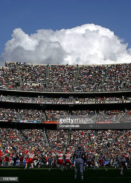 A general view of the San Diego Chargers game against the Kansas City Chiefs at Qualcomm Stadium on January 2 2004 in San Diego California The...