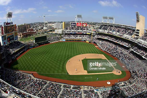 General view of the San Diego Padres against the Toronto Blue Jays during the 9th inning of their MLB Game at Petco Park on June 20, 2004 in San...