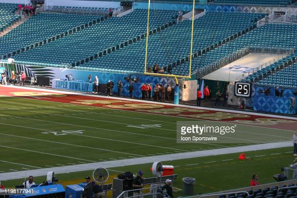 A general view of the San Francisco 49ers end zone prior to Super Bowl LIV on February 2 2020 at Hard Rock Stadium in Miami Gardens FL