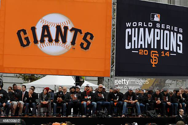 General view of the San Francisco Giants on stage during the San Francisco Giants World Series victory parade on October 31 2014 in San Francisco...