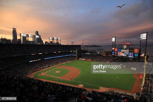 A general view of the San Francisco Giants playing against the Los Angeles Dodgers at ATT Park on April 24 2017 in San Francisco California