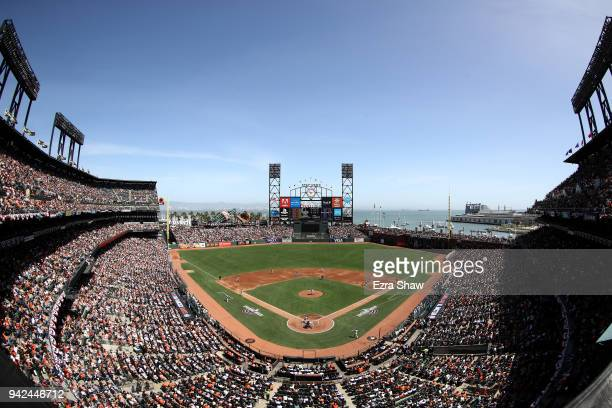 A general view of the San Francisco Giants playing against the Seattle Mariners at ATT Park on April 3 2018 in San Francisco California