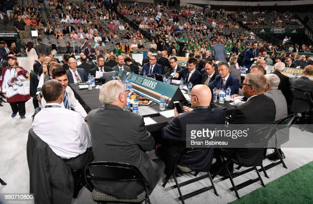 A general view of the San Jose Sharks draft table is seen during the first round of the 2018 NHL Draft at American Airlines Center on June 22 2018 in...