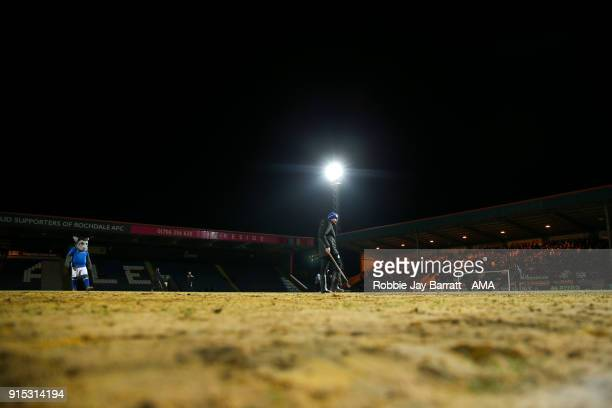 General view of the sand on the pitch at Spotland home stadium of Rochdale during The Emirates FA Cup Fourth Round Replay at Spotland Stadium on...