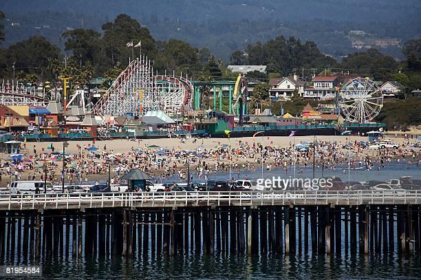 General view of the Santa Cruz Wharf, with the Santa Cruz Beach and Boardwalk amusement park behind on July 29, 2007 in Santa Cruz, California.