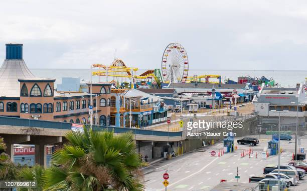 General view of the Santa Monica Pier after Los Angeles ordered the closure of all entertainment venues earlier this week and hours before the 'Safer...