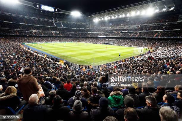 General view of the Santiago Bernabeu before the UEFA Champions League group H match between Real Madrid and Borussia Dortmund at Santiago Bernabéu. .