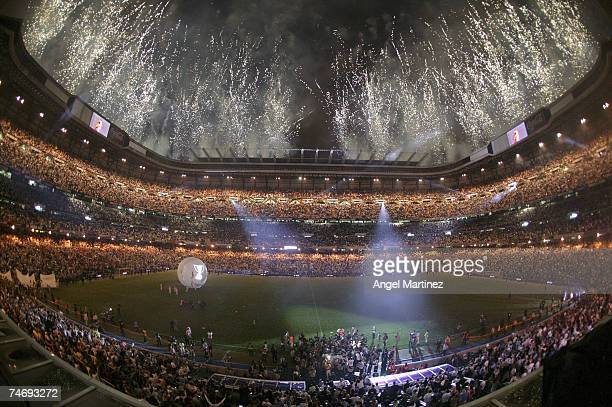 A general view of the Santiago Bernabeu stadium after the La Liga match between Real Madrid and Mallorca at the Santiago Bernabeu stadium on June 17...