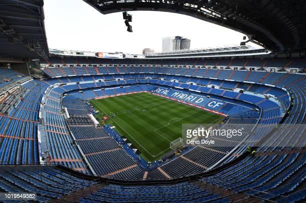 A general view of the Santiago Bernabeu stadium ahead of the La Liga match between Real Madrid CF and Getafe CF at Estadio Santiago Bernabeu on...