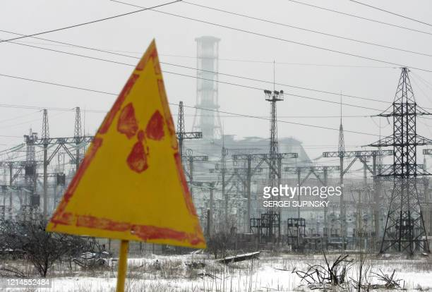 """General view of the """"sarcophagus"""" covering the destroyed 4th power block of Chernobyl's nuclear power plant 27 February 2006. Chernobyl's number-four..."""