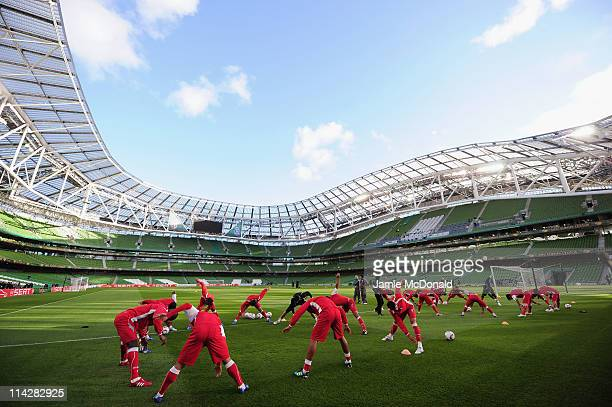General view of the SC Braga players warming up during a SC Braga training session ahead of their UEFA Europa League Final against FC Porto at The...