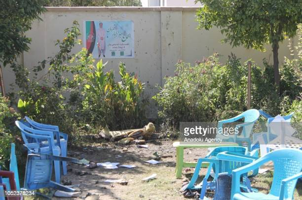 A general view of the scene after a blast caused by explosives on October 17 2018 in Helmand Afghanistan Abdul Jabbar Qaharmaan a prominent candidate...