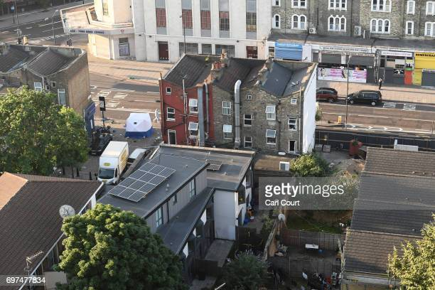 A general view of the scene at an incident near Finsbury Park Mosque in which a van ploughed into pedestrians pictured in the bottom left of the...