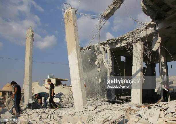 A general view of the scene is seen after Abu Bakr AsSiddiq Mosque was hit with an air strike in Idlib Syria on September 20 2017 It is reported that...