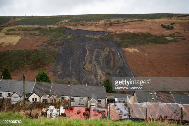 A general view of the scene of a landslide in the Rhondda valley on February 18 in Tylorstown Wales Inspections of old coal tips on the mountains in...