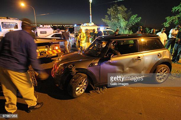 A general view of the scene of an accident that claimed the lives of four schoolchildren after two cars ploughed into their group on March 8 2010 in...