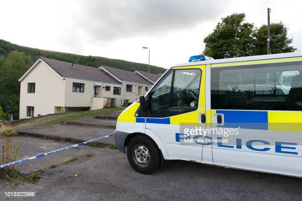 A general view of the scene on Long Row where child killer David Gaut was found dead on August 8 2018 in New Tredegar Wales Police have confirmed...