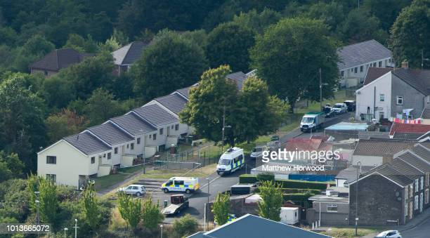 A general view of the scene on Long Row where suspected child killer David Gaut was found dead on August 8 2018 in New Tredegar Wales Police have...