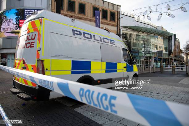 General view of the scene on November 22, 2020 in Cardiff, Wales. Six people, including three of stab wounds, arrived at University Hospital of Wales...
