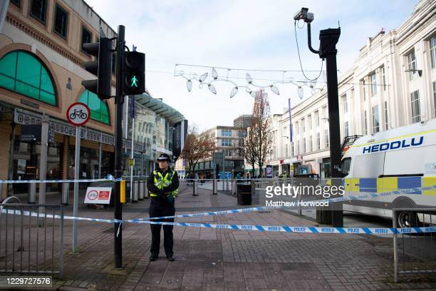 General view of the scene on Queen Street on November 22, 2020 in Cardiff, Wales. Six people, including three of stab wounds, arrived at University...
