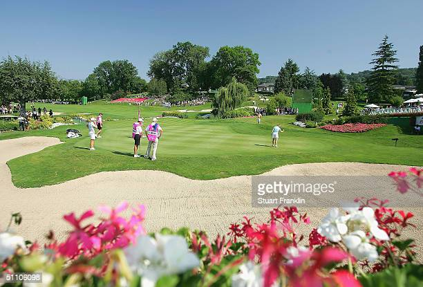 A general view of the scenic 18th green during the second round at The Evian Masters at Evian Golf Club on July 22 2004 in Evian France