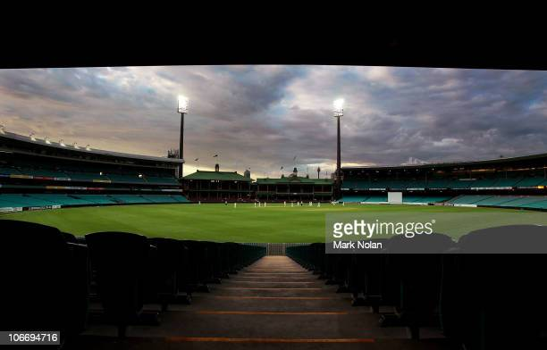 A general view of the SCG late in the evening during day two of the Sheffield Shield match between the New South Wales Blues and the Victorian...