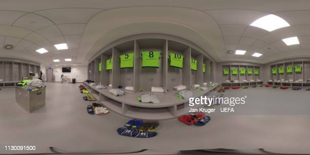 A general view of the Schalke 04 dressing room prior to kickoff during the UEFA Champions League Round of 16 Second Leg match between Manchester City...