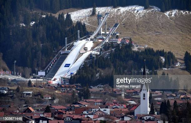General view of the Schattenberg Ski Jumping Arena ahead of the FIS Nordic World Ski Championships 2021 in Oberstdorf on February 23, 2021 in...