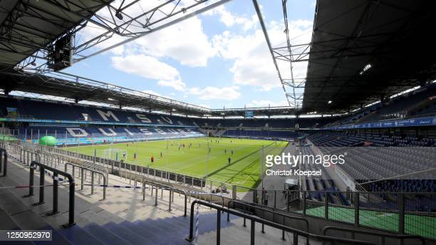 General view of the Schauinsland-Reisen-Arena prior to the 3. Liga match between MSV Duisburg and Hansa Rostock at Schauinsland-Reisen-Arena on June...